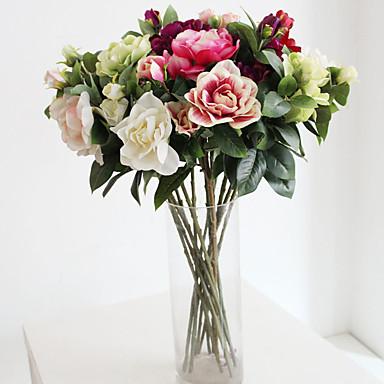 1 1 Ramo Poliéster / Plástico Gardênia Flor de Chão Flores artificiais 25.9inch/66cm