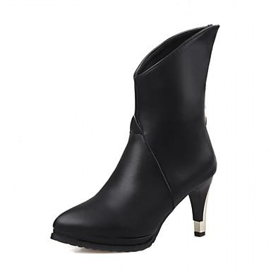 Feminino-Saltos-Botas de Cowboy Botas Montaria Botas da Moda-Salto Agulha-Preto Marrom Branco-Sintético Couro Envernizado Courino-