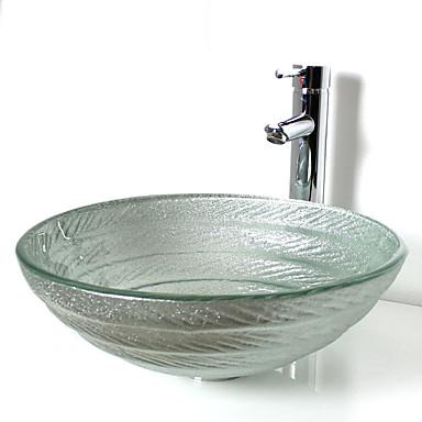 Hedendaagse Rond sink Materiaal is Gehard Glas Badkamer Wastafel Badkamer Kraan Badkamer Montagering Badkamer Waterafvoer