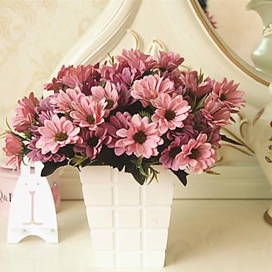 1 Afdeling Polyester Plastik Tusindfryd Bordblomst Kunstige blomster