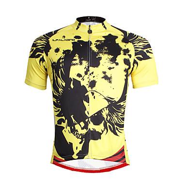 ILPALADINO Hombre Manga Corta Maillot de Ciclismo - Amarillo Bicicleta Camiseta / Maillot, Secado rápido, Resistente a los UV,