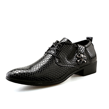 Oxford-kengät-Matala korko-Miesten-Kiiltonahka-Musta Sininen-Toimisto Rento Juhlat-Comfort