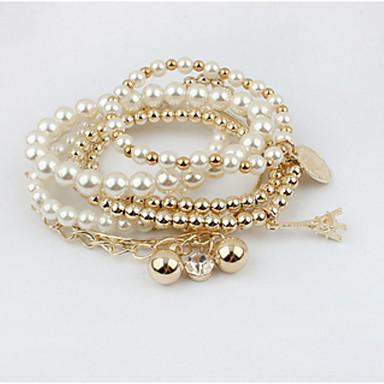 Damen Bettelarmbänder / Strang-Armbänder / Wickelarmbänder - Perle Doppelschicht, Modisch Armbänder Weiß Für Party / Alltag / Normal