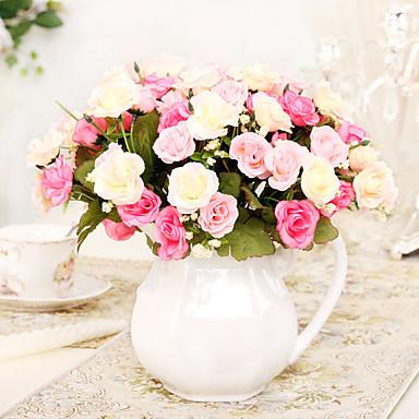 1 1 Afdeling Polyester / Plastik Roser Bordblomst Kunstige blomster 11.4*1.3inch/29*3.5cm