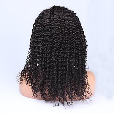 Women Human Hair Lace Wig Human Hair Full Lace Lace Front Glueless Full Lace Density Kinky Curly Wig Dark Black 1# Medium Length Long