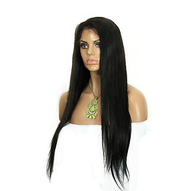 Menneskehår Blonde Front Paryk Lige 130% Massefylde 100 % håndbundet Afro-amerikansk paryk Natural Hairline Kort Medium Lang Dame