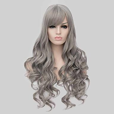 Cabelo Sintético perucas Ondulado Cabelo Ombre Sem Touca Peruca de carnaval Peruca de Halloween preto peruca Longo Cinza
