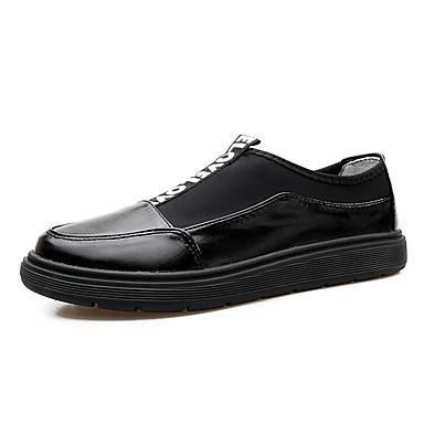 Loafers og Slip-ons-Læder-Komfort-Herre-Sort Blå Sølv-Kontor Fritid-Flad hæl