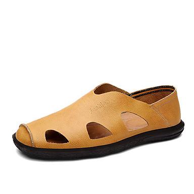 Masculino Sandálias Conforto Sintético Verão Casual Caminhada Conforto Rasteiro Preto Amarelo Marron Azul Rasteiro