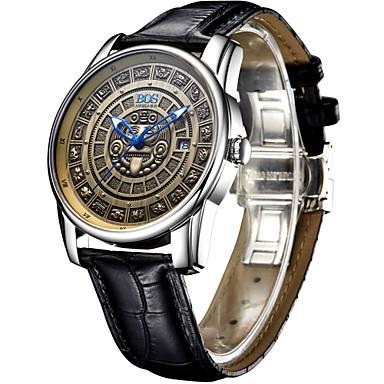 AngelaBOS Heren Dress horloge Modieus horloge mechanische horloges Lichtgevend Automatisch opwindmechanisme Leer BandCool