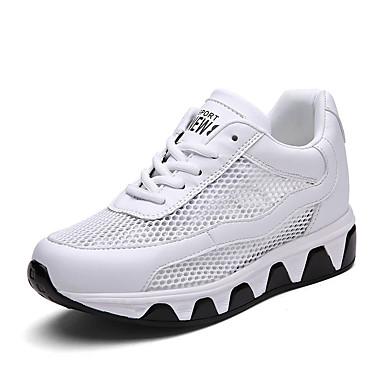 Damen Sneaker Komfort Tüll Frühling Herbst Normal Komfort Schnürsenkel Keilabsatz Weiß Schwarz