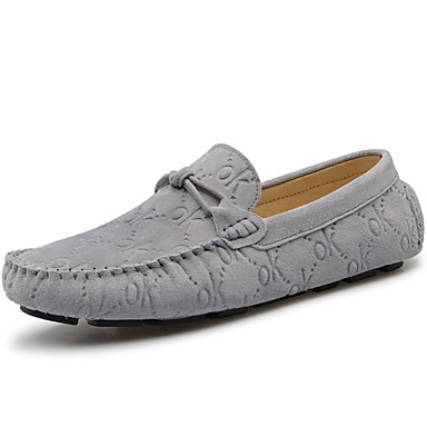 Hombre Mocasín Ante Primavera / Verano / Otoño Zapatos de taco bajo y Slip-On Gris / Café / Azul / Fiesta y Noche