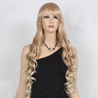 Syntetiske parykker Bølget Blond Dame Lågløs Carnival Paryk Halloween Paryk Naturlig paryk Lang Syntetisk hår