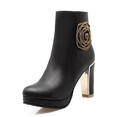 Dame-Syntetisk Lakklær Kunstlær-Tykk hæl-Combatstøvler Cowboystøvler Ankelstøvler Ridestøvler Motestøvler Motorsykkelstøvler-Høye hæler-