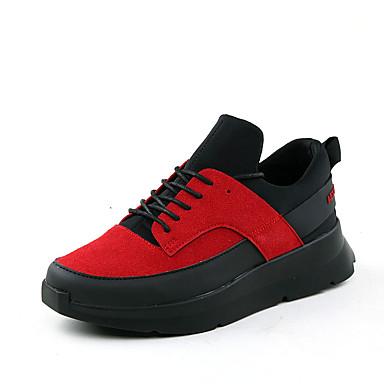 Sneakers-Ruskind-Komfort-Herre-Sort Hvid-Fritid-Flad hæl