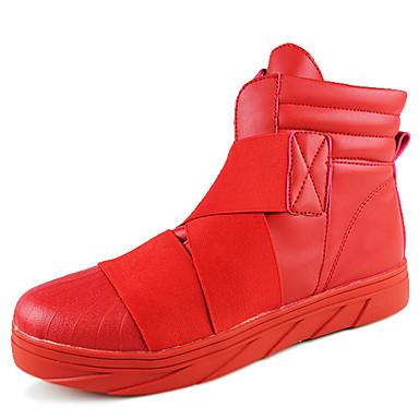 Masculino-Botas-Conforto Botas de Neve-Rasteiro-Preto Vermelho Branco-Couro-Ar-Livre Casual Para Esporte