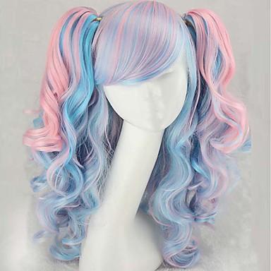 Pelucas sintéticas / Pelucas de Broma Mujer Rizado / Ondulado Medio Azul Corte asimétrico Pelo sintético Entradas Naturales Azul Peluca Larga Sin Tapa Arco iris