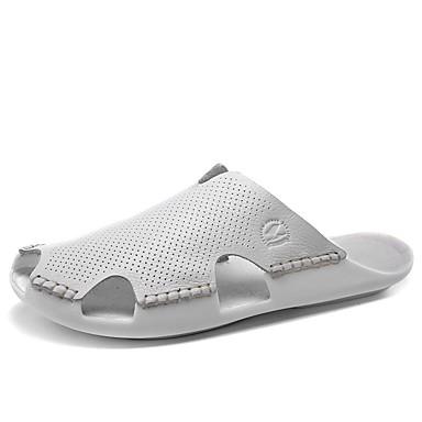 Hombre Zapatos Cuero de Napa Primavera / Verano / Otoño Sandalias Agua Tacón Plano Purpurina Blanco / Negro / Marrón