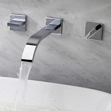 Koupelna Umyvadlová baterie - Vodopád Pochromovaný Nástěnná montáž Se třemi otvory / Dvěma uchy tři otvory