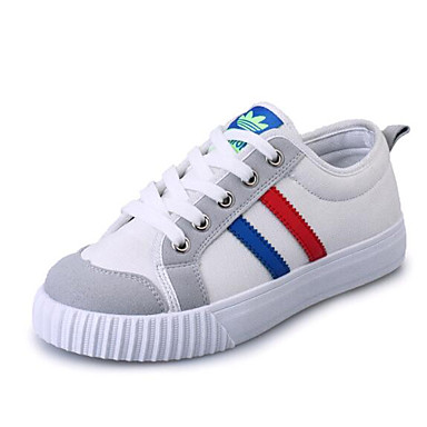 Sneakers-Kanvas-Komfort-Dame-Sort Gul Hvid-Udendørs Sport-Flad hæl