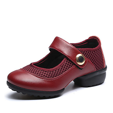 Dame Dansesko Moderne Stof Læder Sneaker udendørs Træning Flade hæle Sort Bourgogne Kan ikke tilpasses