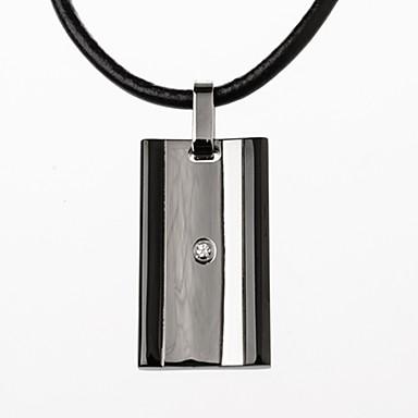 Herre Form Luksus Fest Kontor Afslappet Mode minimalistisk stil Halskædevedhæng Læder Titanium Stål Simuleret diamant Halskædevedhæng