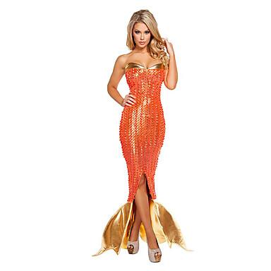 Havfruehale Eventyr Cosplay Kostumer Festkostume Kvindelig Halloween Jul Karneval Festival/Højtider Halloween Kostumer Oransje Vintage