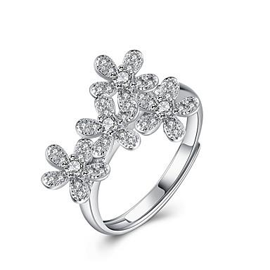 Damen Statement-Ring - Sterling Silber, Silber Party, Büro, Sexy Verstellbar Silber Für Hochzeit / Party / Alltag / Zirkon