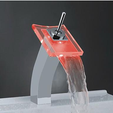 Hedendaagse Bassin Waterherfst Met touchfunctie/zonder touchfunctie LED with  Messing ventiel Single Handle Een Hole for  Chroom ,