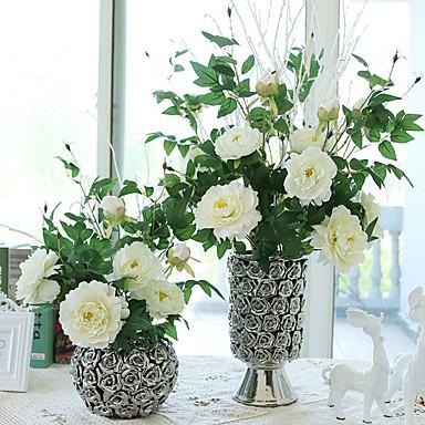 Flores Artificiales 1 Rama Estilo moderno Peonías Flor de Mesa
