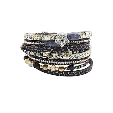 Damen Kristall Wickelarmbänder / Lederarmbänder - Krystall, Leder, Strass Stern Luxus, Retro, Böhmische Armbänder Schwarz Für Party / Alltag / Normal / Diamantimitate