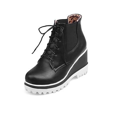 Dame-Lakklær Kunstlær-Kilehæl-Platå Komfort Combatstøvler Ankelstøvler Ridestøvler Motestøvler Motorsykkelstøvler-Støvler-Friluft Kontor