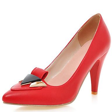 Damen Schuhe PU Frühling Sommer Herbst High Heels Walking Stöckelabsatz Mit Schleife Für Normal Kleid Party & Festivität Weiß Schwarz Rot