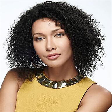 Menneskehår Blonde Front Paryk Krøllet 130% Massefylde 100 % håndbundet Afro-amerikansk paryk Natural Hairline Kort Medium Lang Dame