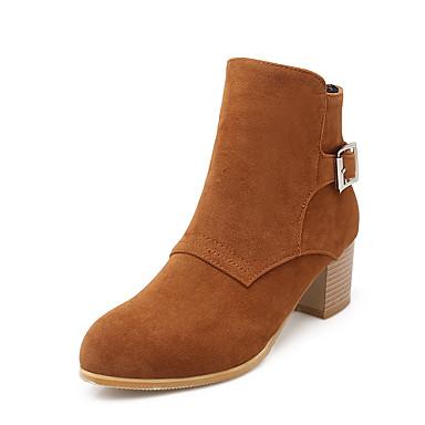 Støvler-FleeceDame-Sort Gul Beige-Kontor Fritid-Tyk hæl