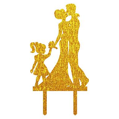 Kakepynt Asiatisk Tema Klassisk Tema rustikk Theme Klassisk Par Akryl Bryllup jubileum Utdrikningslag med Bånd 1 OPP