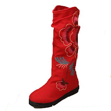Dame Sko Tekstil Vår Høst Vinter Trendy støvler Komfort Støvler Gange Flat hæl Blomst til utendørs Svart Rød