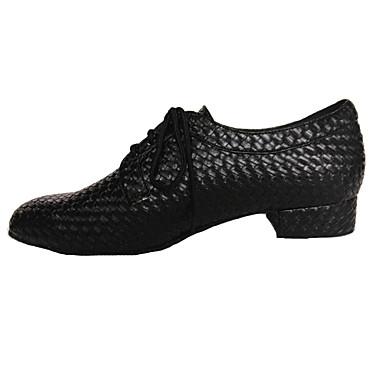 Hombre Zapatos de Baile Moderno / Zapatos de Swing Semicuero Tacones Alto Con Cordón Tacón Bajo No Personalizables Zapatos de baile Rojo