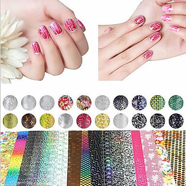 20 pcs Cinta de tela metálica arte de uñas Manicura pedicura Clásico Diario / Cinta adhesiva