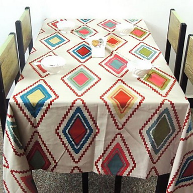 Kvadrat Blomstret Trykt mønster Duge , Lin/Bomull Blanding Materiale Hotel Middagsbord 1