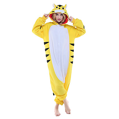 Kigurumi-pyjamas Tiger Onesie-pyjamas Kostume Polarfleece Gul Cosplay Til Voksne Nattøj Med Dyr Tegneserie Halloween Festival / Højtider