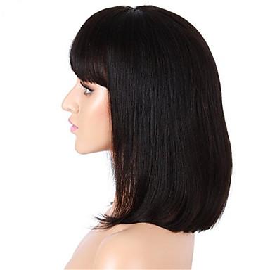 Aidot hiukset Lace Front Peruukki Suora Yaki 130% Tiheys 100% käsinsidottu Afro-amerikkalainen peruukki Luonnollinen hiusviiva Lyhyt