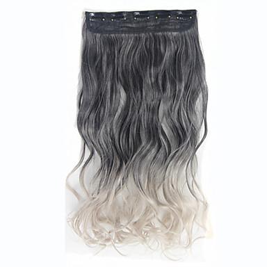 Clip in der synthetischen Haarverlängerungen Omber Farbe q1 hohe Temperatur Faser gewelltes gelocktes Haar Stück balck -Licht grau