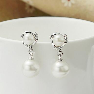 Dame Dråbeøreringe Mode Perle Sølv Rund form Smykker Til Daglig Afslappet