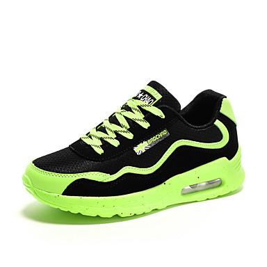 Dames Sneakers Comfortabel Tule Lente Herfst Causaal Wandelen Comfortabel Veters Platte hak Groen Zwart/Rood zwart/wit Plat