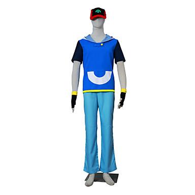 Inspireret af Pocket Little Monster Ash Ketchum Anime Cosplay Kostumer Cosplay Kostumer Farveblok Kortærmet Top Bukser CAP konstruktion