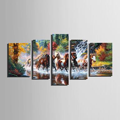 Canvas Set Landskap / Dyr Europeisk Stil,Fem Paneler Lerret Vertikal Print Art Wall Decor For Hjem Dekor