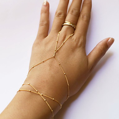 abordables Bracelet-Bracelets Bagues Femme Perlé Pas cher Esclaves d'or dames Style Simple Mode Le style mignon Bracelet Bijoux Doré Forme de Ligne pour Quotidien Décontracté