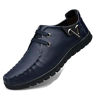 Heren Schoenen Leer Kunstleer Nappaleer Lente Herfst Comfortabel Platte schoenen Wandelen Veters voor Causaal Zwart Rood Blauw