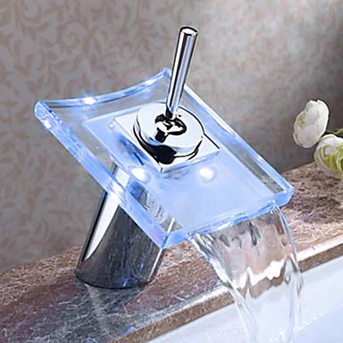 Moderne Basin Vandfald Touch/ikke-touch LED Messing Ventil Enkelt håndtere to Huller Krom , Badekarshaner Køkken Vandhane Håndvasken